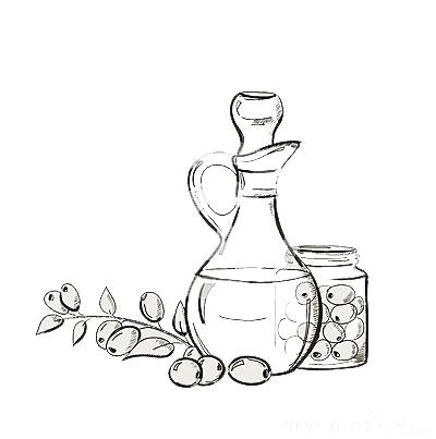 sketch-bottle-olive-oil-branch-olives-34322378
